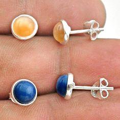 4.14cts natural moonstone owyhee opal 925 silver 2 pair studs earrings t50863