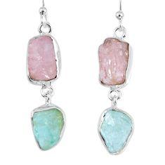 17.42cts natural morganite rough aquamarine rough 925 silver earrings r55402