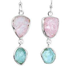17.38cts natural morganite rough aquamarine rough 925 silver earrings r55403
