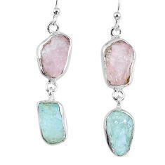 16.90cts natural morganite rough aquamarine rough 925 silver earrings r55405