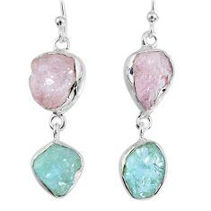 15.96cts natural morganite rough aquamarine rough 925 silver earrings r55406