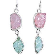 15.10cts natural morganite rough aquamarine rough 925 silver earrings r55410