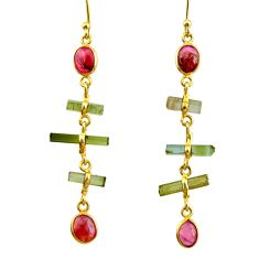 9.48cts natural multcolor tourmaline 925 silver 14k gold earrings r33302