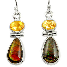8.94cts natural multi color ammolite (canadian) 925 silver earrings r39210