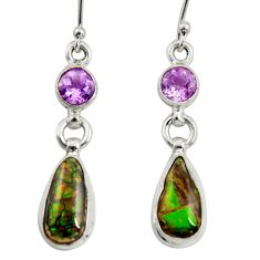 9.54cts natural multi color ammolite (canadian) 925 silver earrings r39213