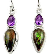 9.56cts natural multi color ammolite (canadian) 925 silver earrings r39216