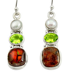 11.46cts natural multi color ammolite (canadian) 925 silver earrings r39221