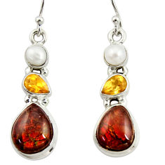 10.03cts natural multi color ammolite (canadian) 925 silver earrings r39224