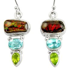 12.83cts natural multi color ammolite (canadian) 925 silver earrings r39235