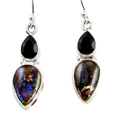 10.02cts natural multi color ammolite (canadian) 925 silver earrings r39541