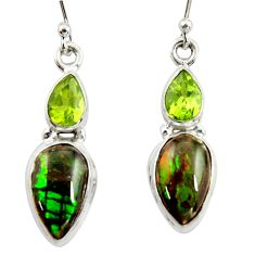 9.49cts natural multi color ammolite (canadian) 925 silver earrings r39547