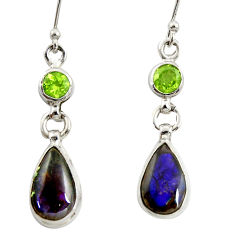 10.02cts natural multi color ammolite (canadian) 925 silver earrings r39550