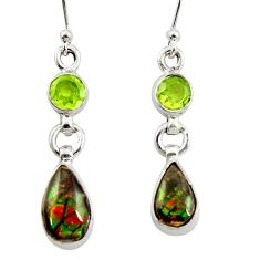 8.75cts natural multi color ammolite (canadian) 925 silver earrings r39553