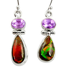 11.54cts natural multi color ammolite (canadian) 925 silver earrings r39555