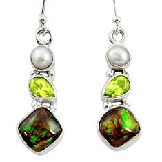 9.61cts natural multi color ammolite (canadian) 925 silver earrings r39569