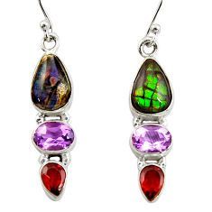 9.61cts natural multi color ammolite (canadian) 925 silver earrings r39574