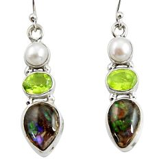 12.83cts natural multi color ammolite (canadian) 925 silver earrings r39577