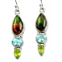 12.07cts natural multi color ammolite (canadian) 925 silver earrings r39578