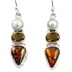 12.89cts natural multi color ammolite (canadian) 925 silver earrings r39580
