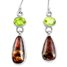 12.36cts natural multi color ammolite (canadian) 925 silver earrings r56223
