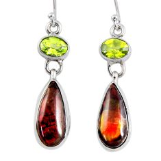 12.08cts natural multi color ammolite (canadian) 925 silver earrings r56227