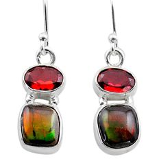 7.39cts natural multi color ammolite (canadian) 925 silver earrings t45287