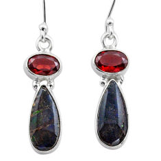 8.73cts natural multi color ammolite (canadian) 925 silver earrings t45289