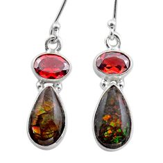 8.79cts natural multi color ammolite (canadian) 925 silver earrings t45293