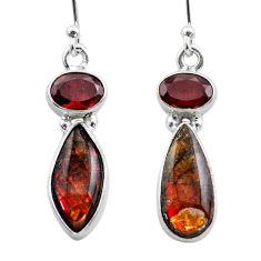 7.93cts natural multi color ammolite (canadian) 925 silver earrings t45295