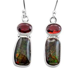 9.16cts natural multi color ammolite (canadian) 925 silver earrings t45296