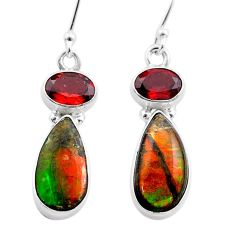 9.20cts natural multi color ammolite (canadian) 925 silver earrings t45297