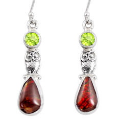 8.28cts natural multi color ammolite (canadian) 925 silver owl earrings r56246