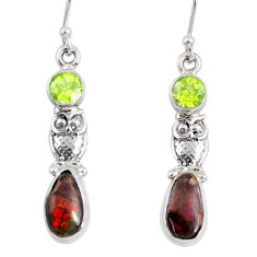 7.87cts natural multi color ammolite (canadian) 925 silver owl earrings r56247