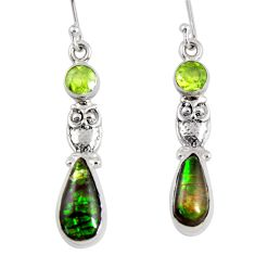 8.80cts natural multi color ammolite (canadian) 925 silver owl earrings r56254