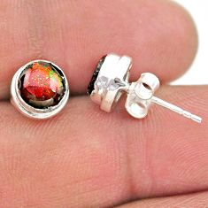 4.07cts natural multi color ammolite (canadian) 925 silver stud earrings t19401
