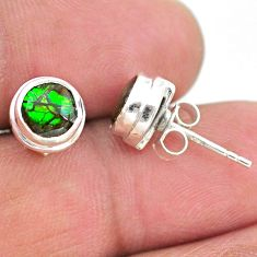 4.12cts natural multi color ammolite (canadian) 925 silver stud earrings t19403