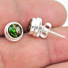 4.33cts natural multi color ammolite (canadian) 925 silver stud earrings t19405
