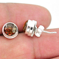 4.09cts natural multi color ammolite (canadian) 925 silver stud earrings t19406