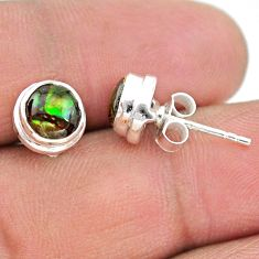4.16cts natural multi color ammolite (canadian) 925 silver stud earrings t19407