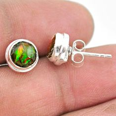 4.21cts natural multi color ammolite (canadian) 925 silver stud earrings t19408