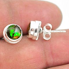4.14cts natural multi color ammolite (canadian) 925 silver stud earrings t19412