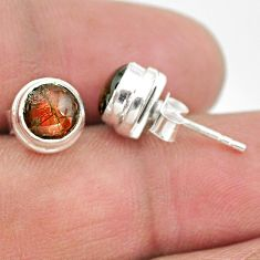 4.27cts natural multi color ammolite (canadian) 925 silver stud earrings t19413
