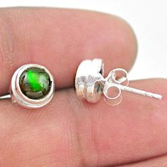 4.52cts natural multi color ammolite (canadian) 925 silver stud earrings t19415