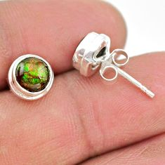 4.55cts natural multi color ammolite (canadian) 925 silver stud earrings t19416