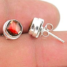 4.30cts natural multi color ammolite (canadian) 925 silver stud earrings t19417