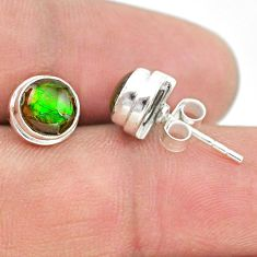 4.50cts natural multi color ammolite (canadian) 925 silver stud earrings t19419