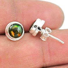 4.35cts natural multi color ammolite (canadian) 925 silver stud earrings t19420