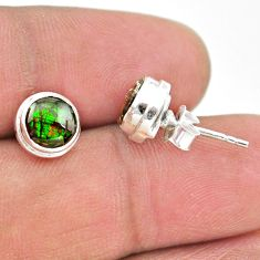4.29cts natural multi color ammolite (canadian) 925 silver stud earrings t19429