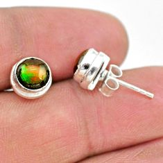 4.12cts natural multi color ammolite (canadian) 925 silver stud earrings t19431