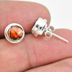 4.12cts natural multi color ammolite (canadian) 925 silver stud earrings t19432